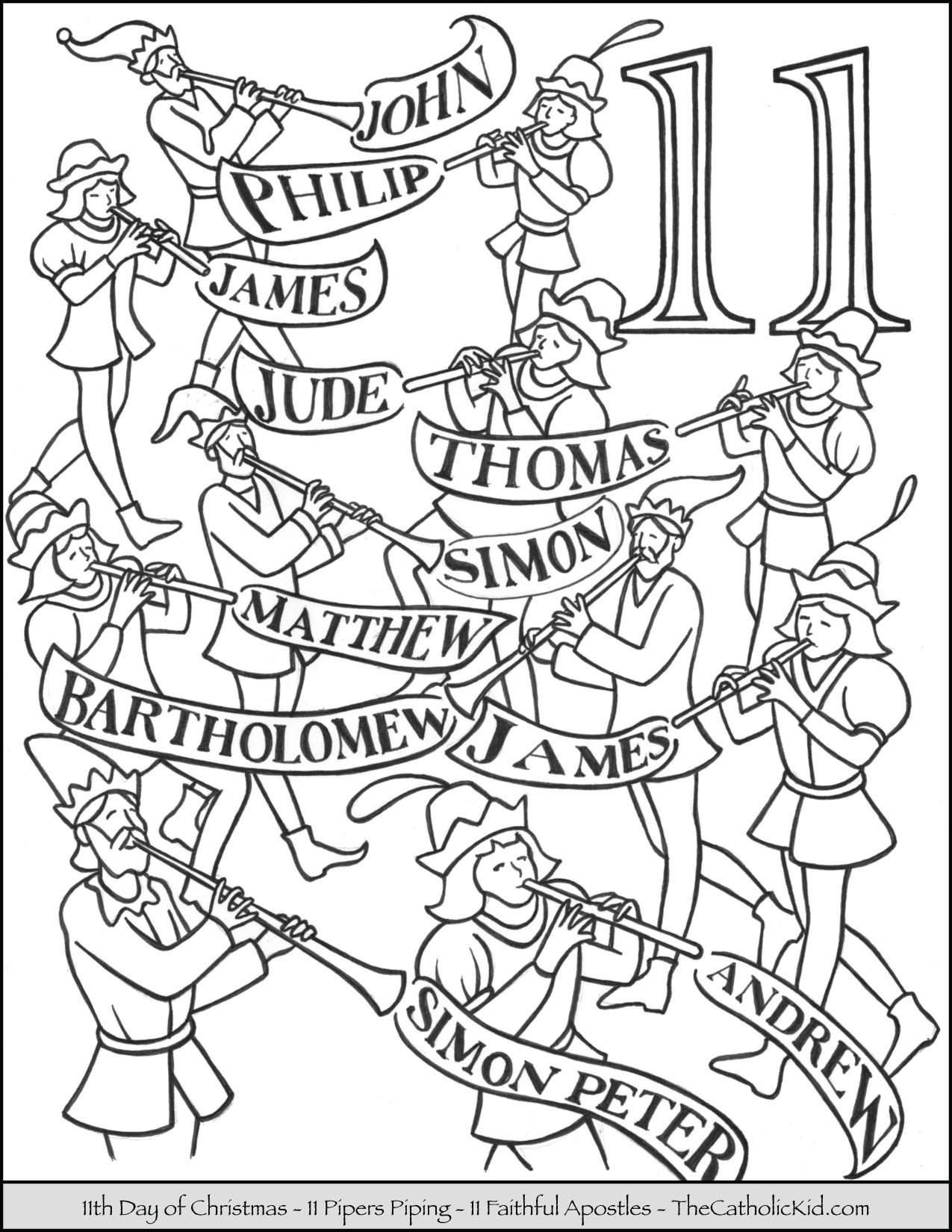Eleventh Day of Christmas Eleven Pipers Piping Coloring Page