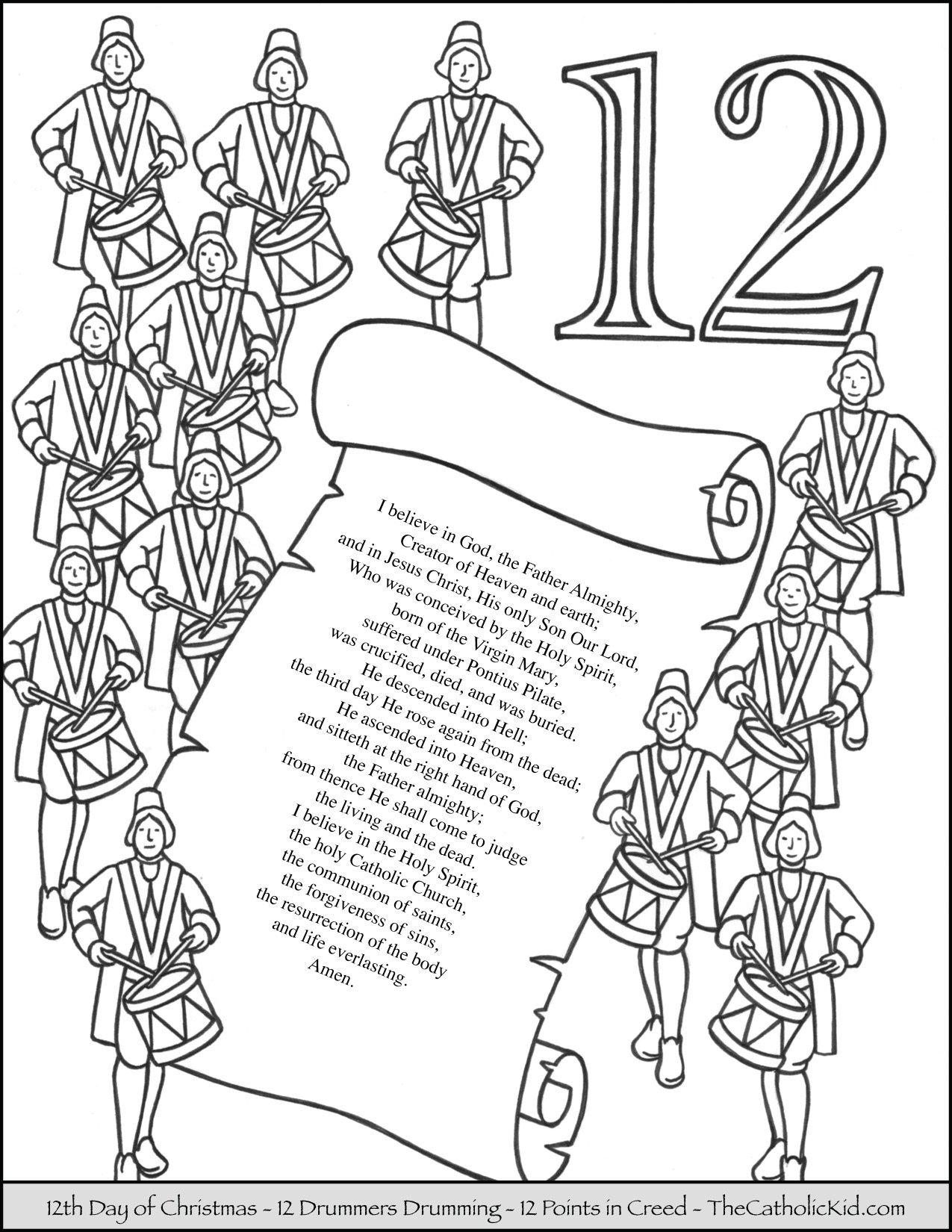 Twelfth Day of Christmas Twelve Drummers Drumming Coloring Page