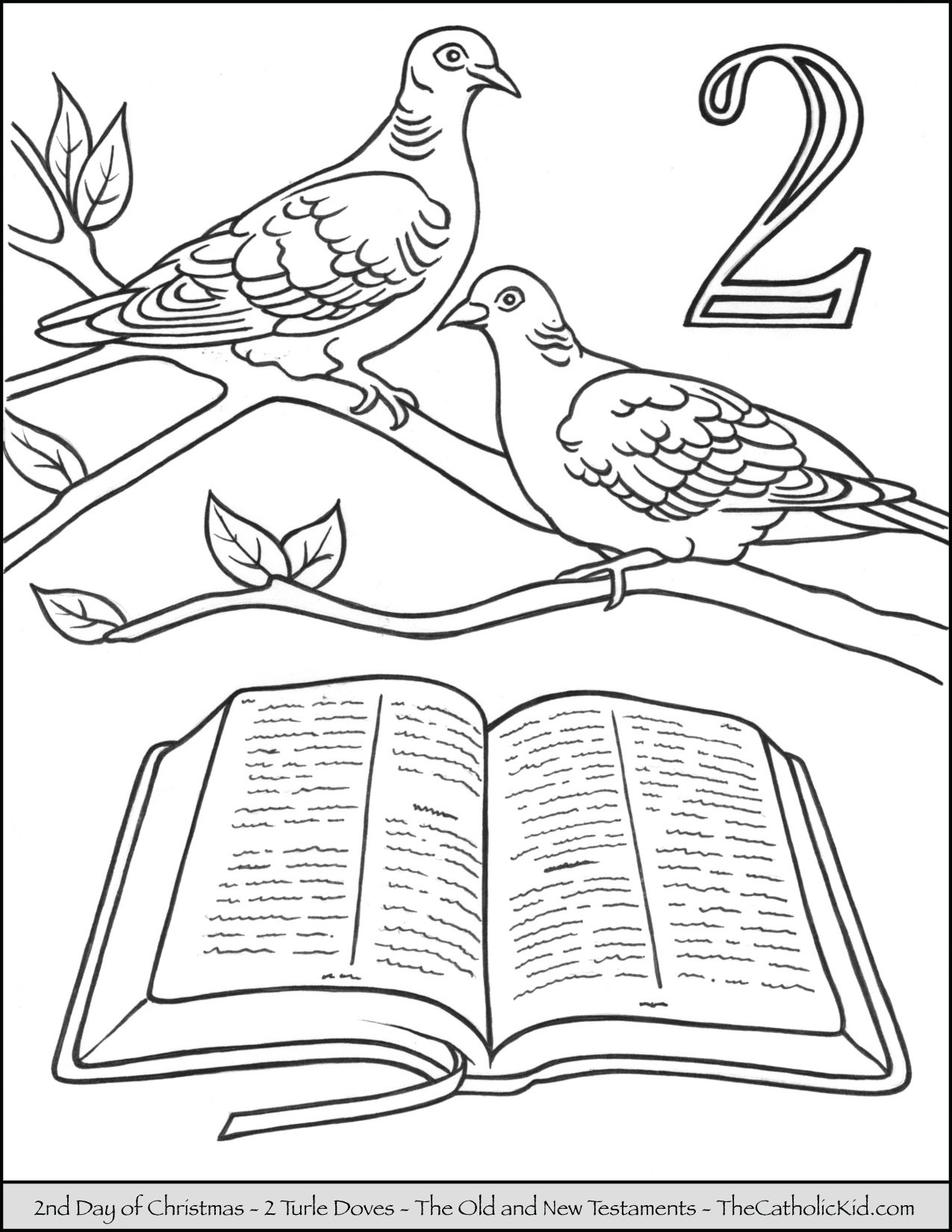 second day of christmas two turtle doves coloring page