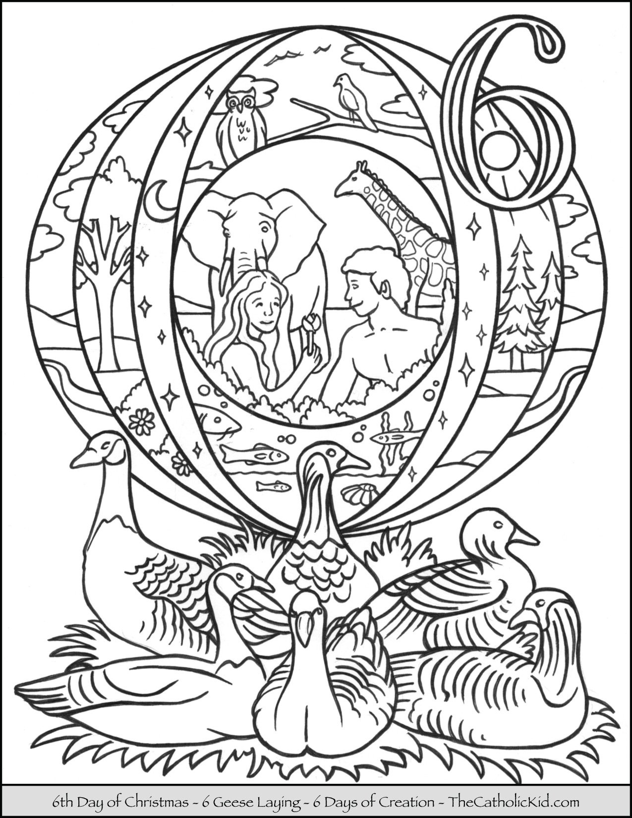 Sixth Day of Christmas Six Geese Laying Coloring Page