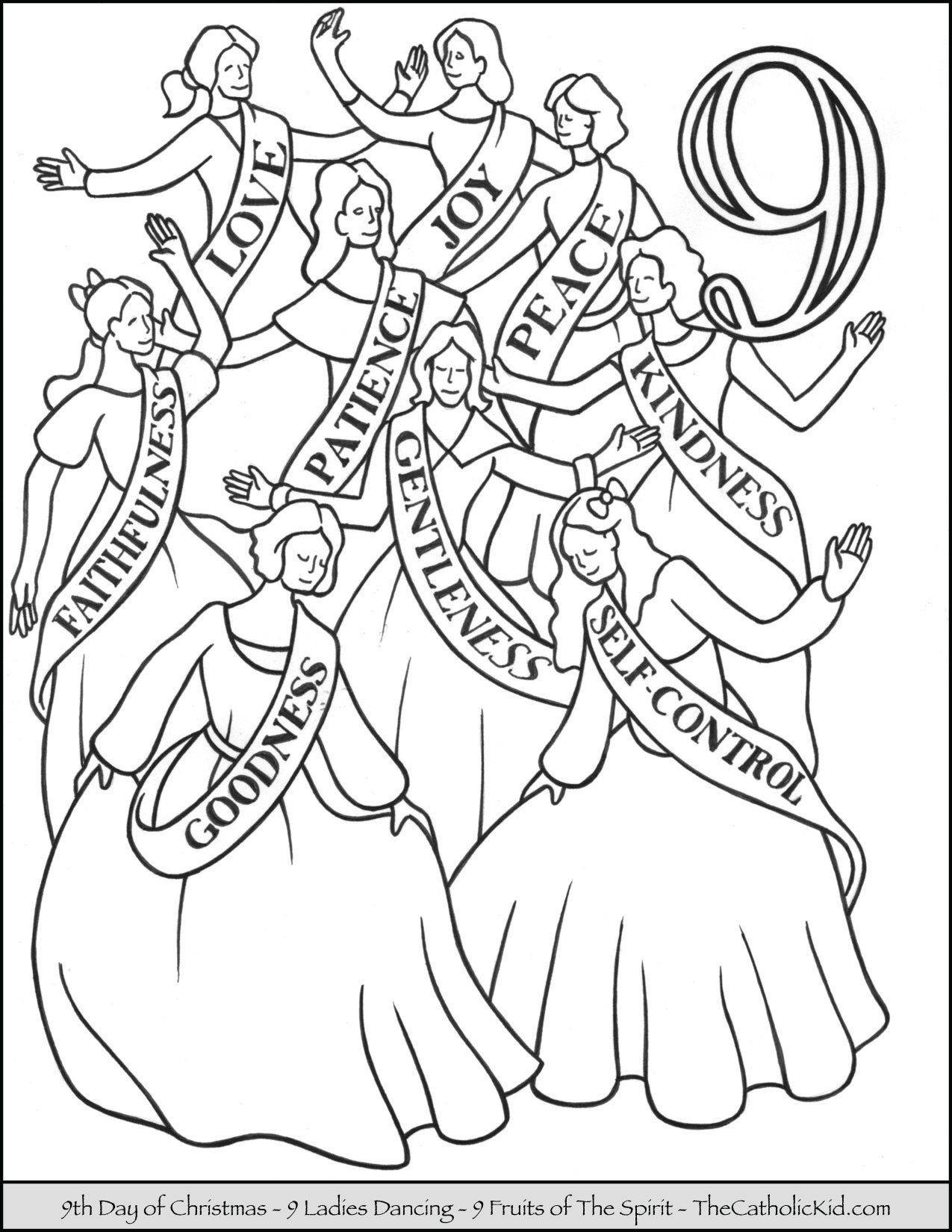Ninth Day of Christmas Ladies Dancing Coloring Page
