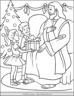 a gift for jesus christmas coloring page