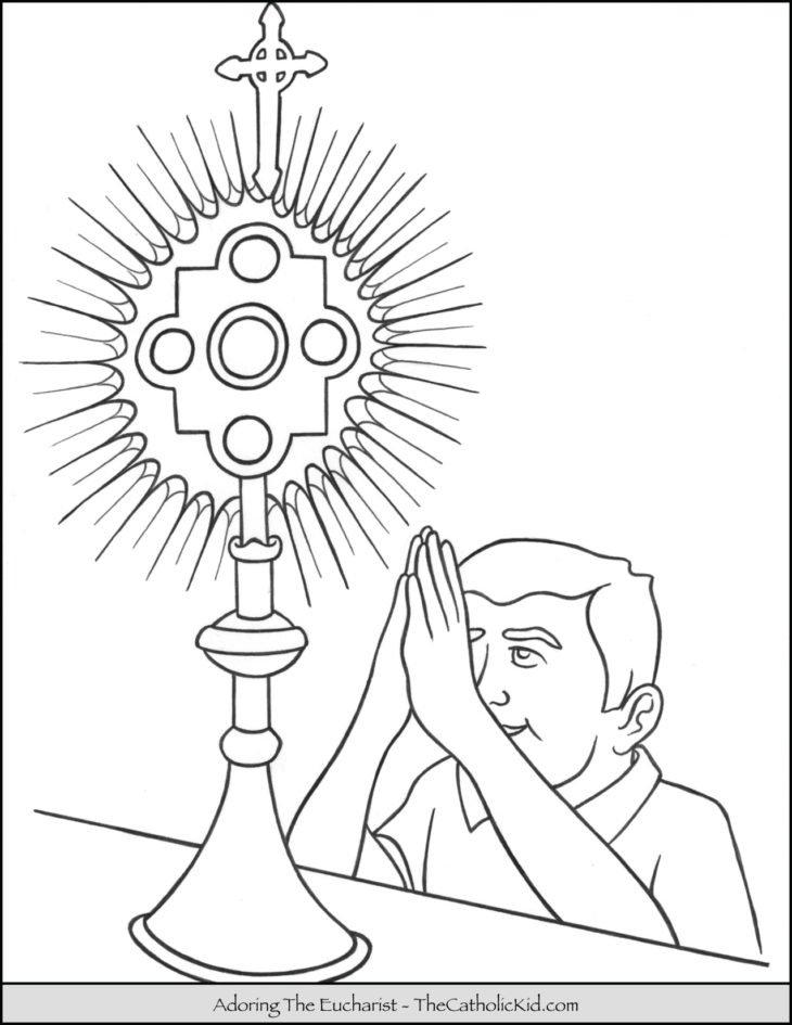 Adoring Eucharist Coloring Page