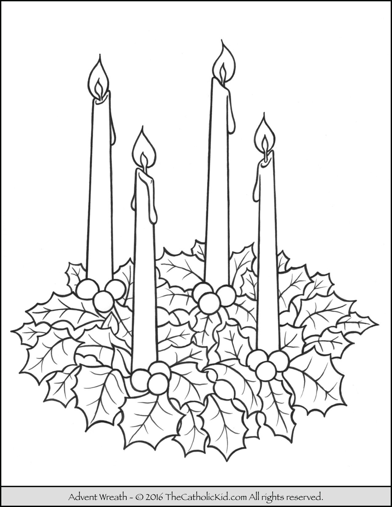 Advent wreath coloring page for Free advent calendar coloring pages