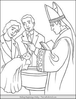 Baptizing Baby Bishop Baptizm Coloring Page