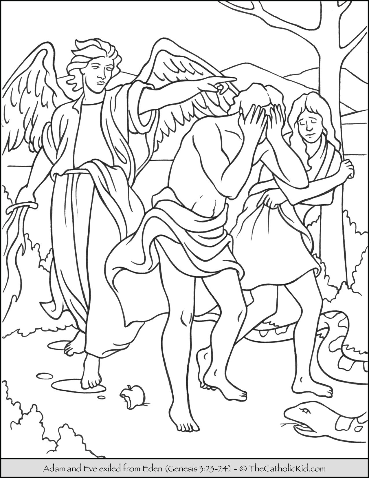 Bible Coloring Page - Adam and Eve Exiled from Eden