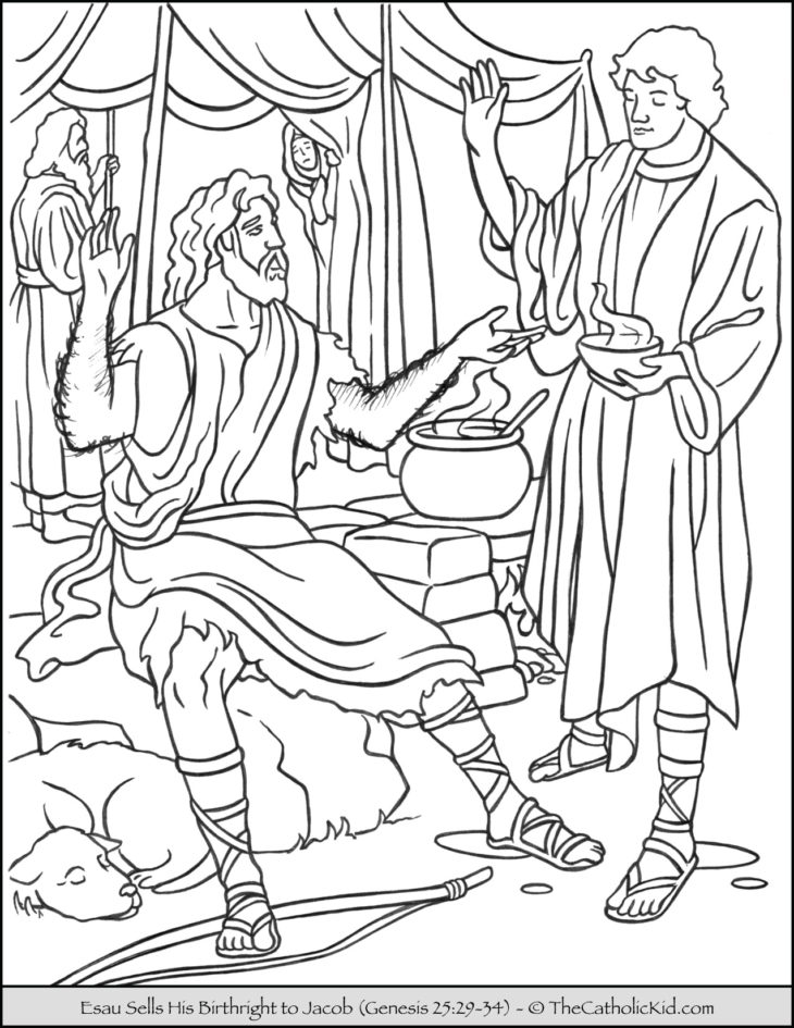 Bible Coloring Page Esau Sells Birthright to Jacob
