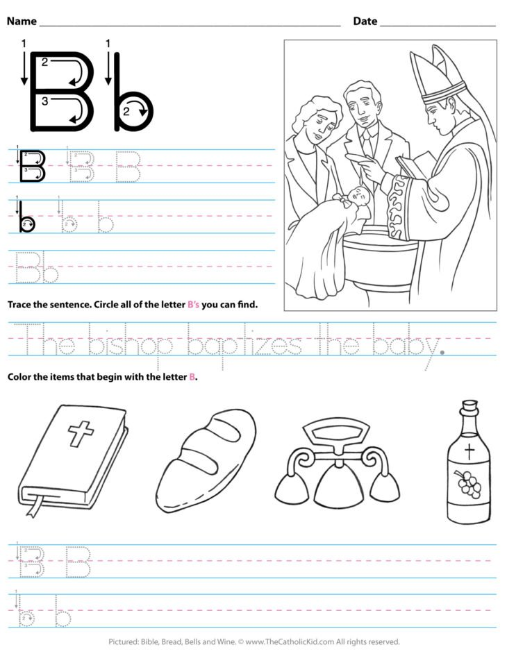 Catholic Alphabet Letter B Worksheet Preschool Kindergarten