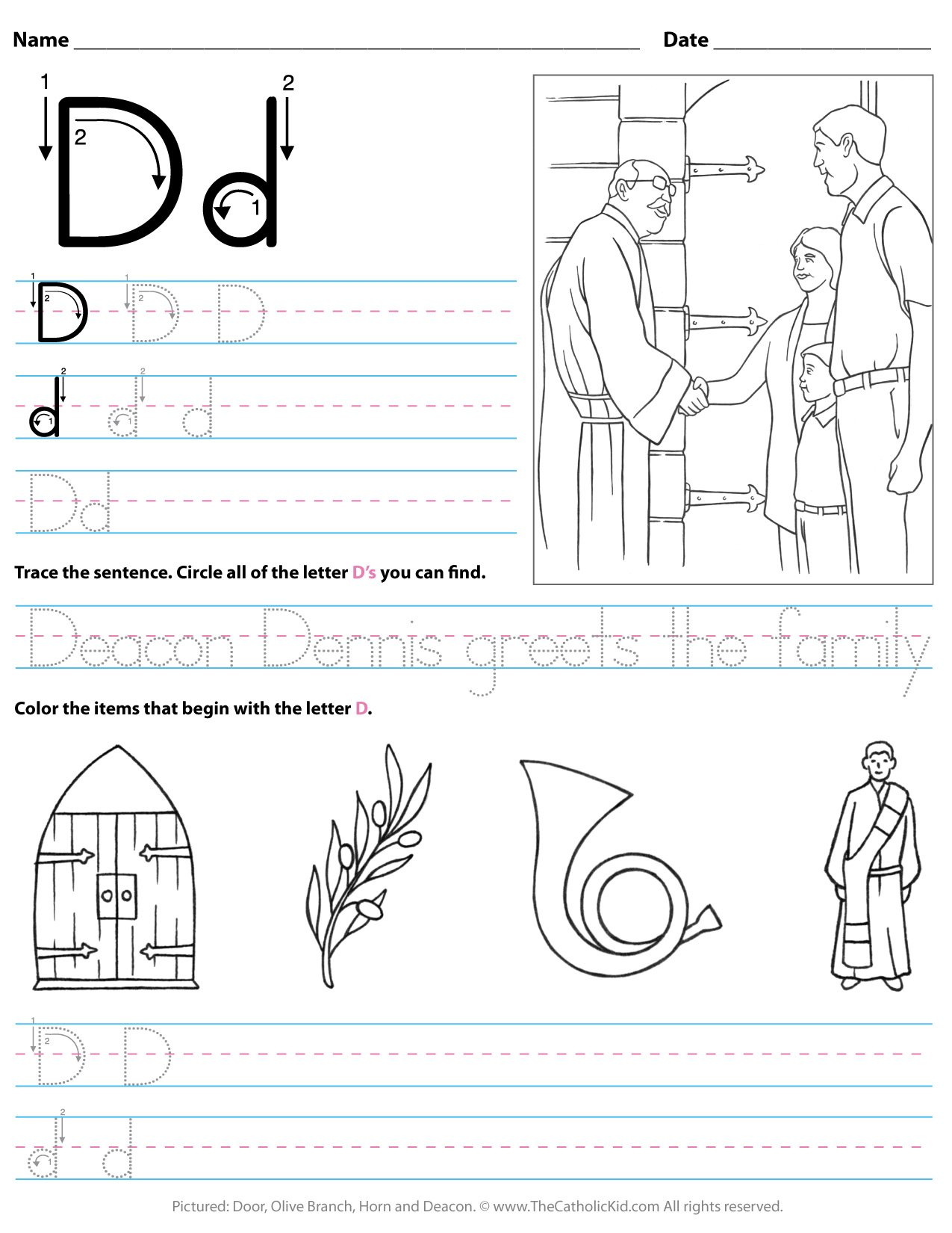 Catholic Alphabet Letter D Worksheet Preschool Kindergarten