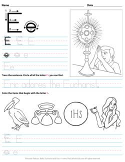 Catholic Alphabet Letter E Worksheet Preschool Kindergarten