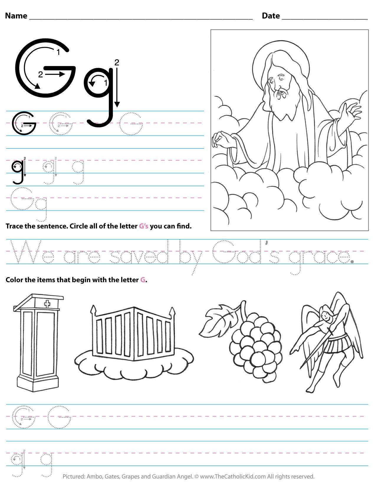 Catholic Alphabet Letter G Worksheet Preschool Kindergarten