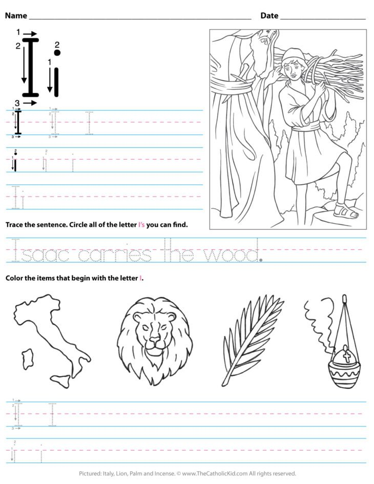 Catholic Alphabet Letter I Worksheet Preschool Kindergarten