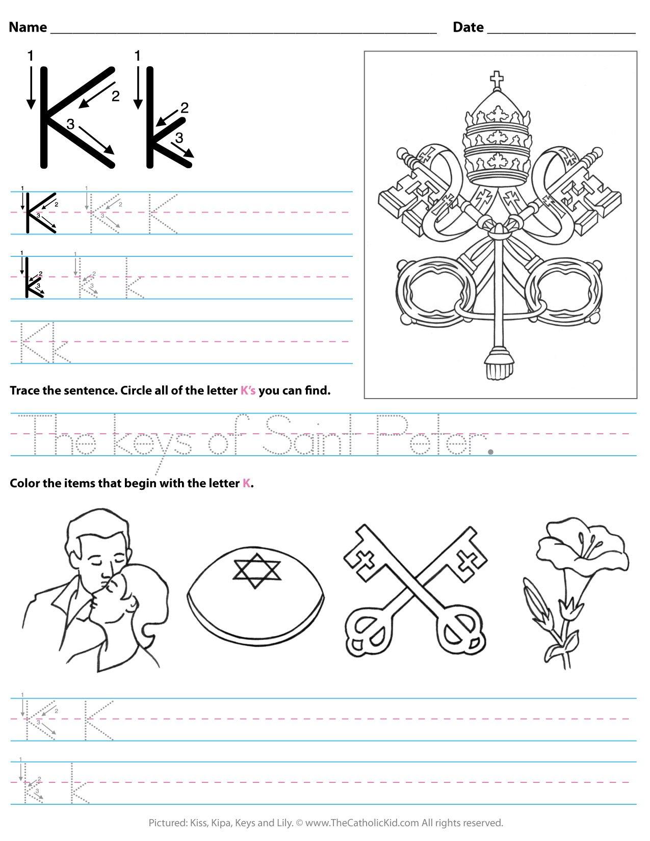 - Catholic Alphabet Letter K Worksheet Preschool Kindergarten