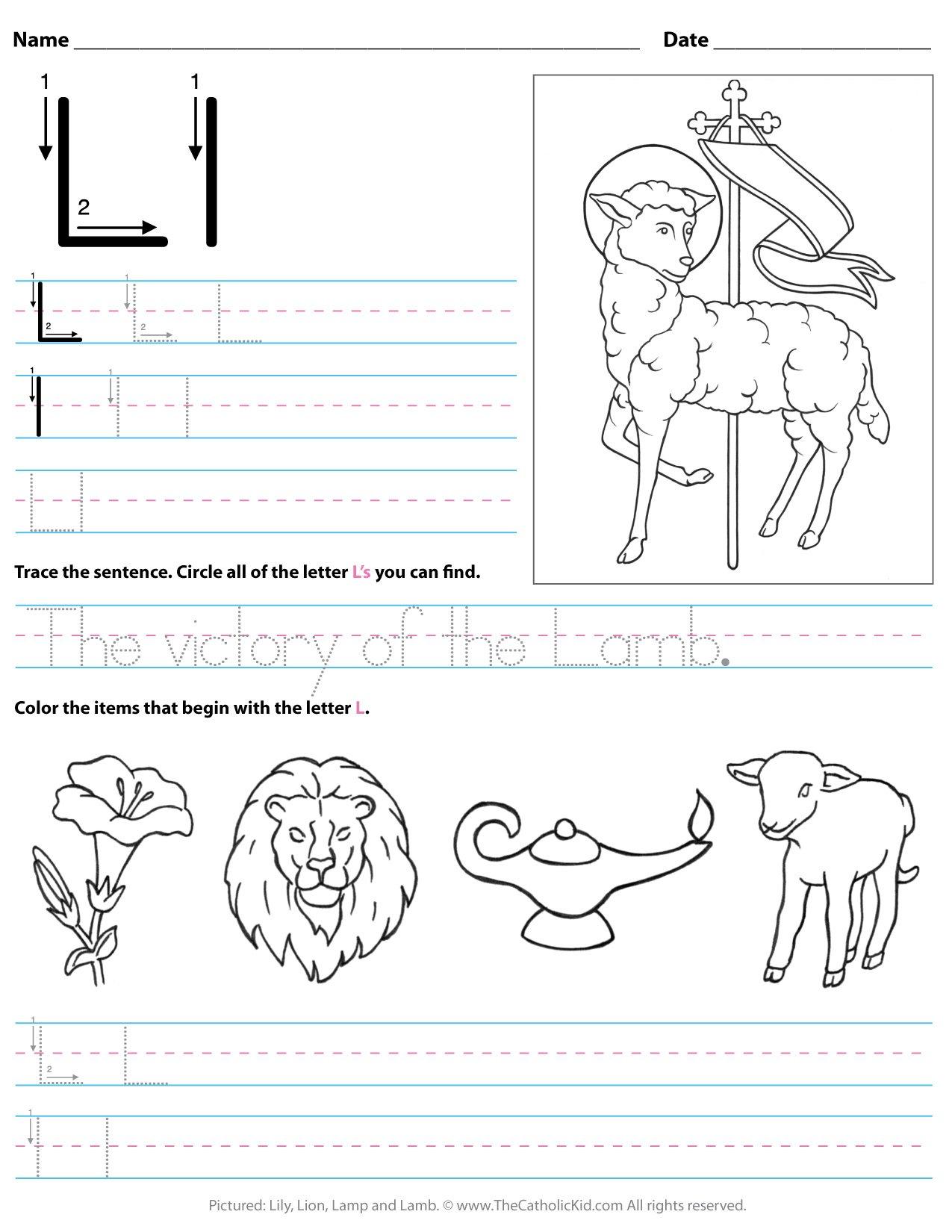 Catholic Alphabet Letter L Worksheet Preschool Kindergarten ...