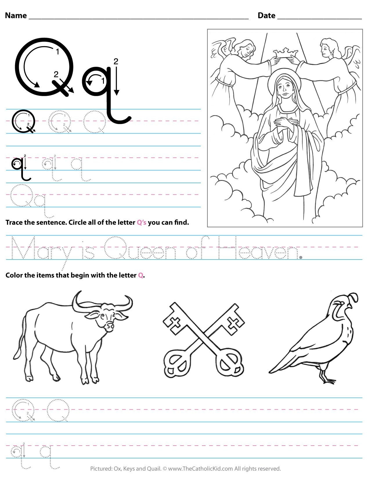 Catholic Alphabet Letter Q Worksheet Preschool Kindergarten -