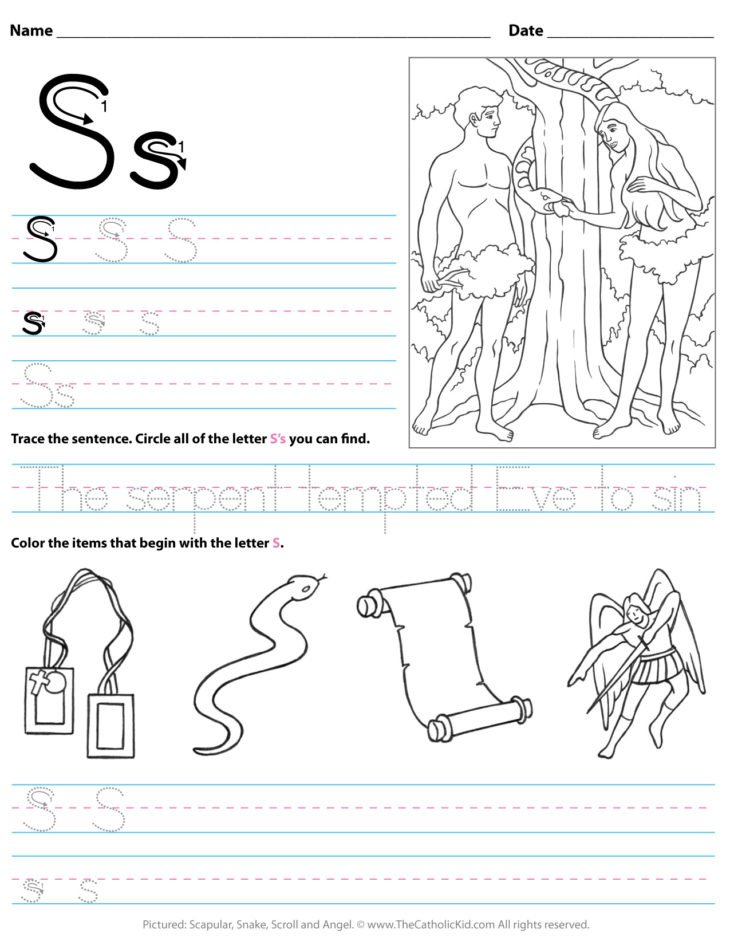 Catholic Alphabet Letter S Worksheet Preschool Kindergarten