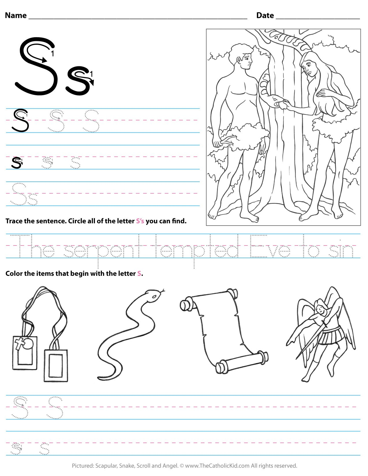 Catholic Alphabet Letter S Worksheet Preschool Kindergarten ...