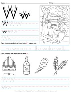 Catholic Alphabet Letter W Worksheet Preschool Kindergarten