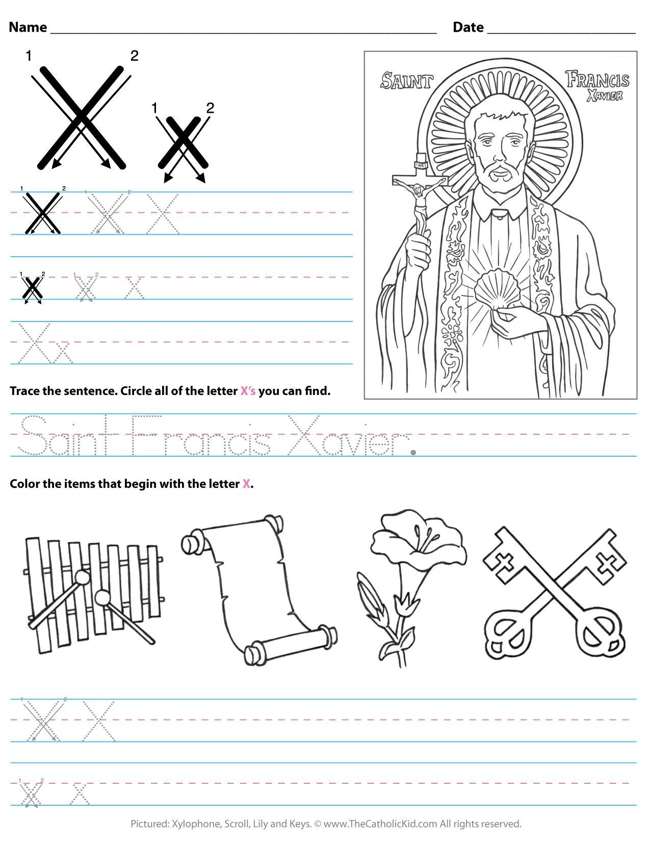 Catholic Alphabet Letter X Worksheet Preschool Kindergarten ...