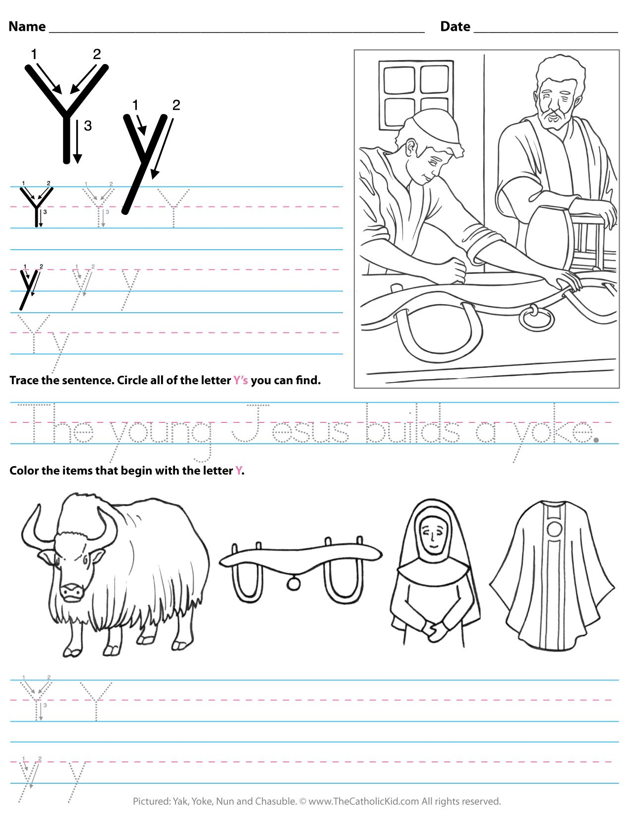 Catholic Alphabet Letter Y Worksheet Preschool Kindergarten