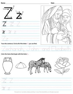 Catholic Alphabet Letter Z Worksheet Preschool Kindergarten