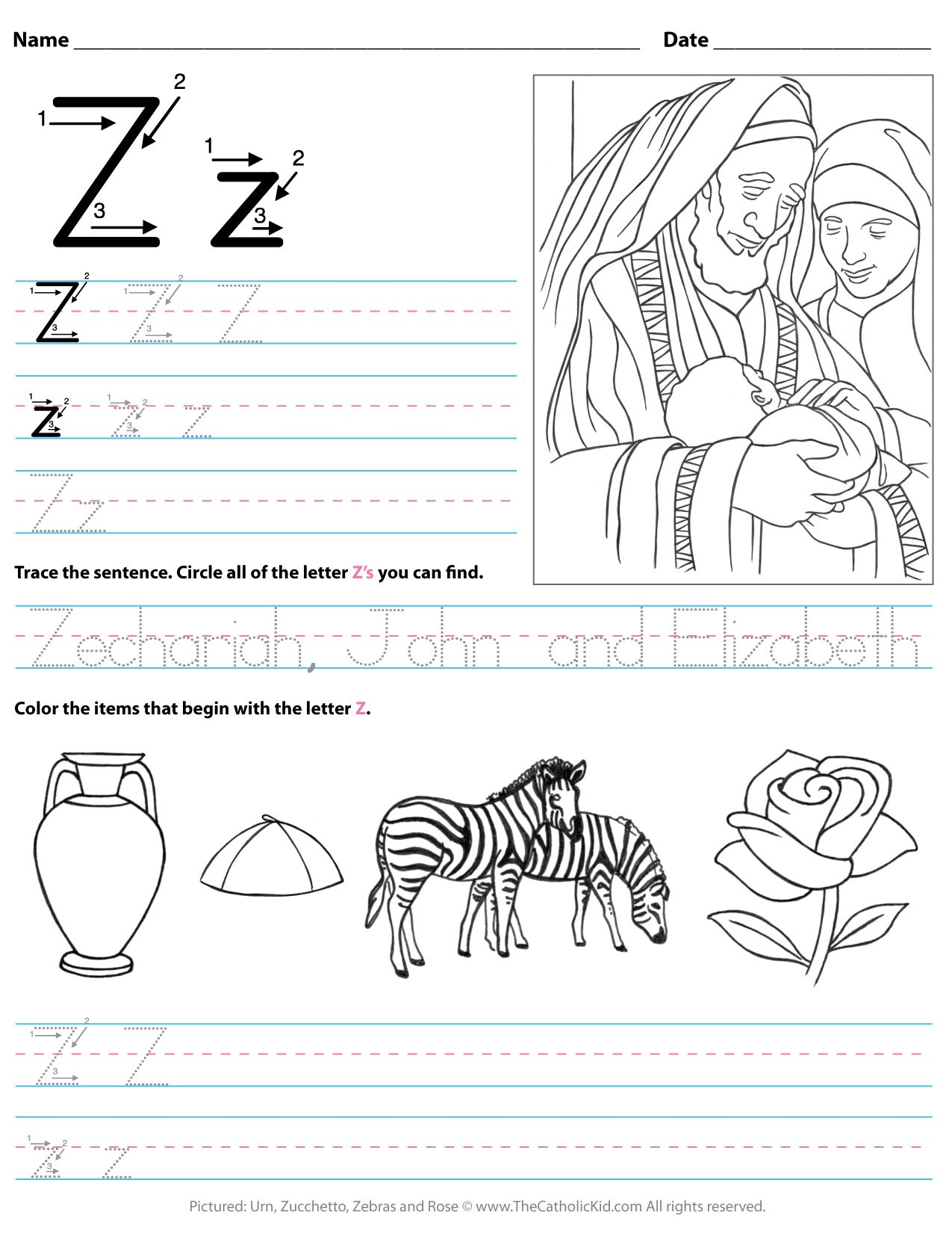 Catholic Alphabet Letter Z Worksheet Preschool Kindergarten ...