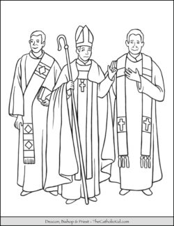 Catholic Holy Orders Deacon Bishop Priest Coloring Page