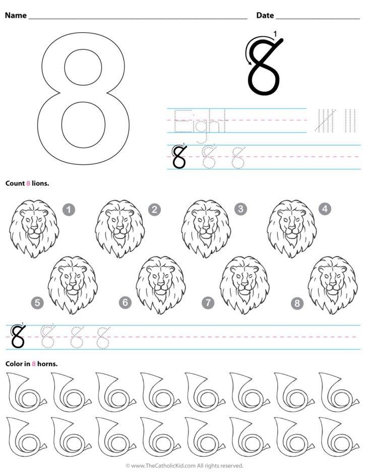 Catholic Number 8 Worksheet Preschool Kindergarten Coloring Page