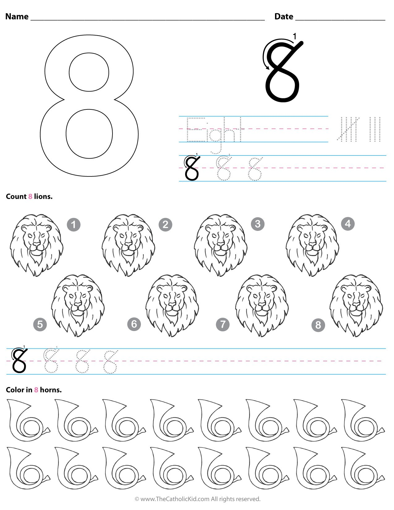 Catholic Number 8 Worksheet Preschool Kindergarten Coloring Page