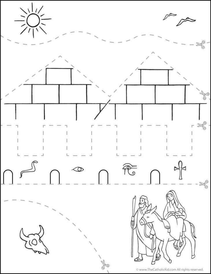 Catholic Scissor Simple Practice Cutting Worksheet Flight to Egypt