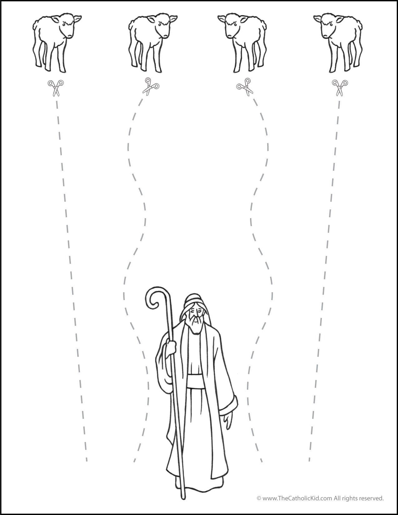Catholic Scissor Simple Practice Cutting Worksheet Lines