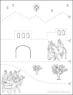 Catholic Scissor Simple Practice Cutting Worksheet - Nativity