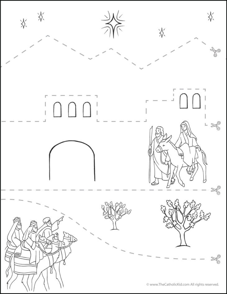 Catholic Scissor Simple Practice Cutting Worksheet - Nativity