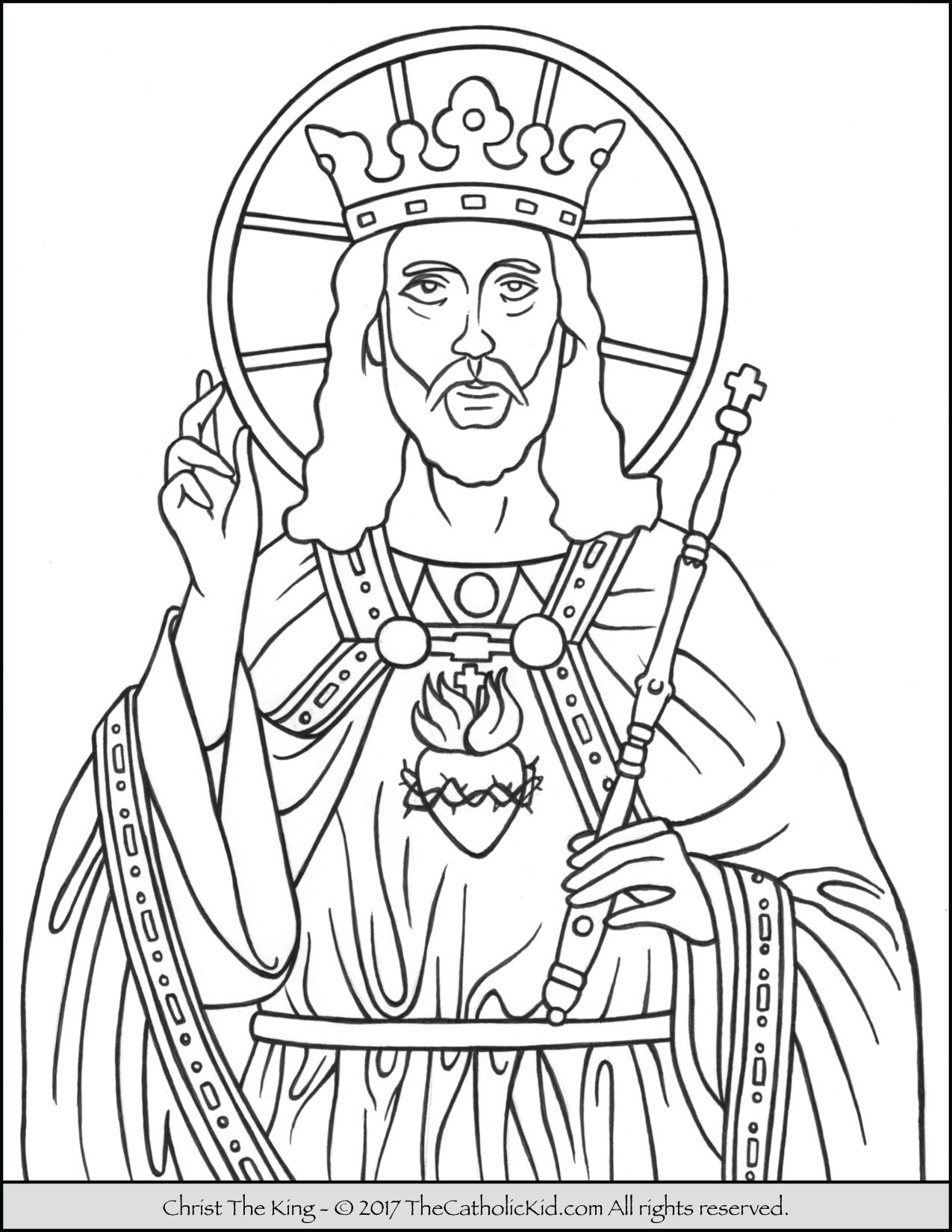 Christ The King Coloring Page TheCatholicKidcom