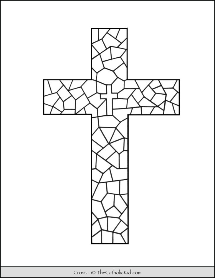 Cross Coloring Page With Stained Glass Pattern