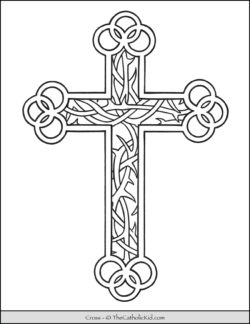 Cross Coloring Page - Thorns