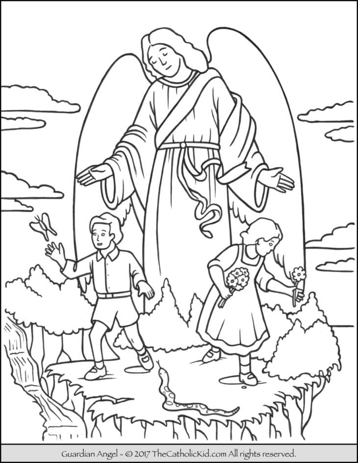The catholic kid catholic coloring pages and games for for Angel coloring pages