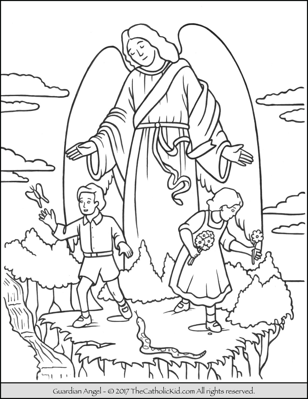 Guardian angel coloring page for Coloring page angel