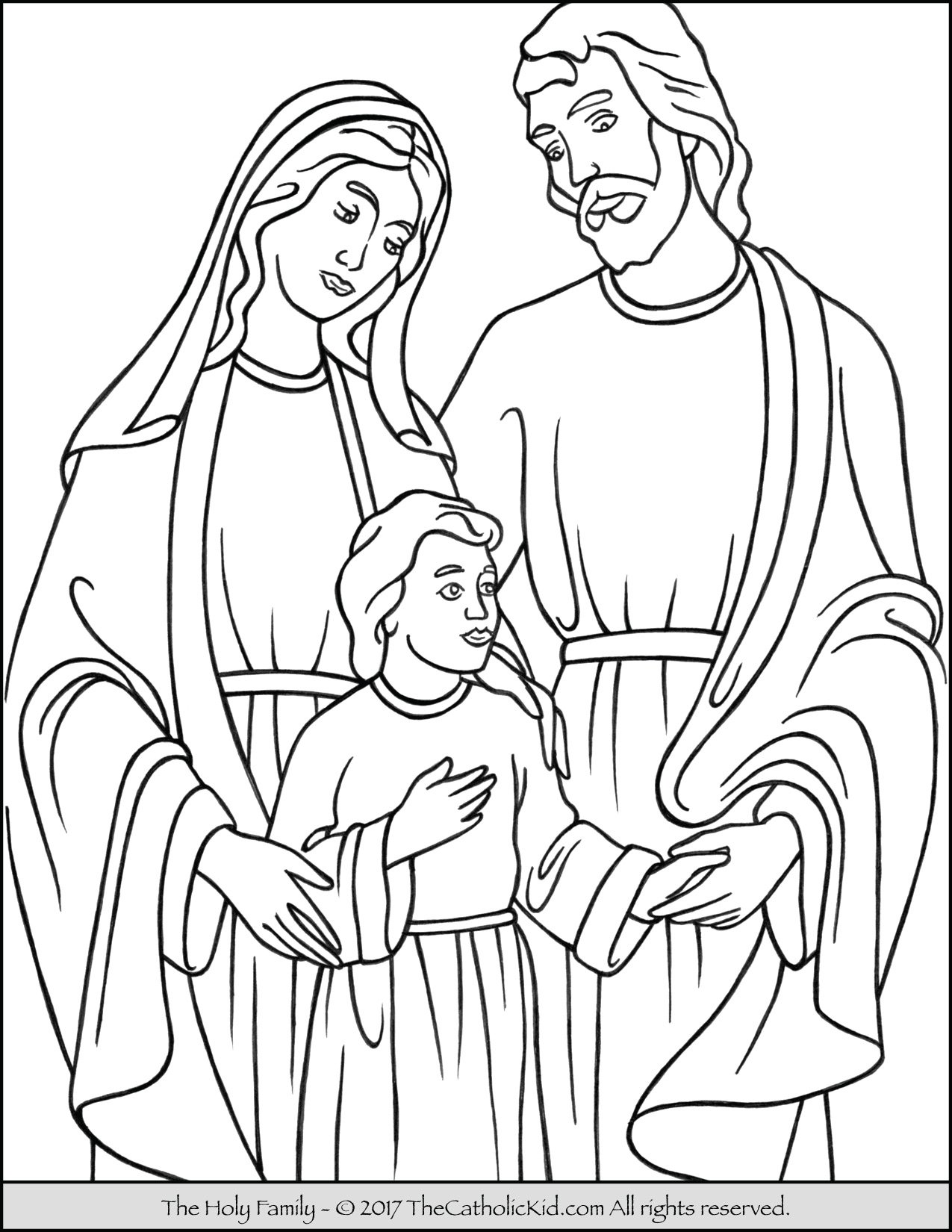 Holy Family Coloring Page - TheCatholicKid.com