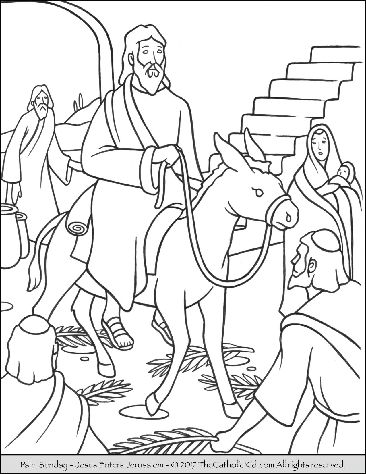 Palm Sunday Coloring Page -