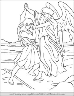 Jacob Wrestles Angle Bible Coloring Page