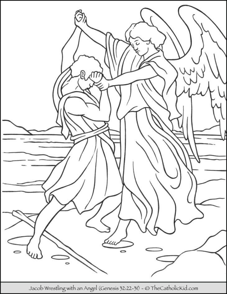 Jacob Wrestles Angle Bible Coloring Page
