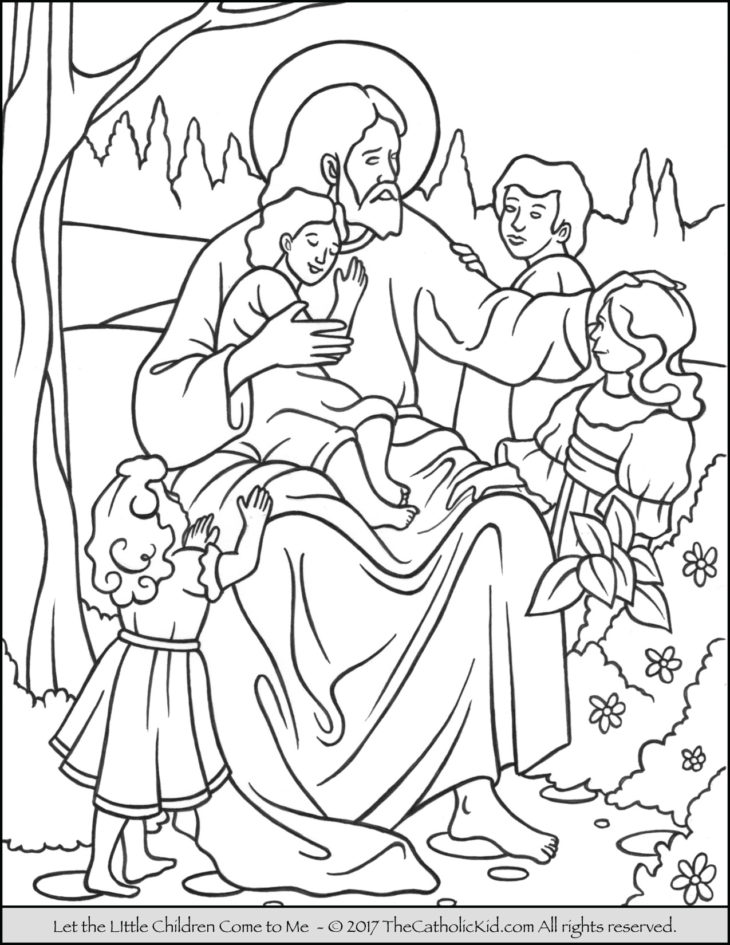 jesus let the little children come to me coloring page - Jesus Children Coloring Pages