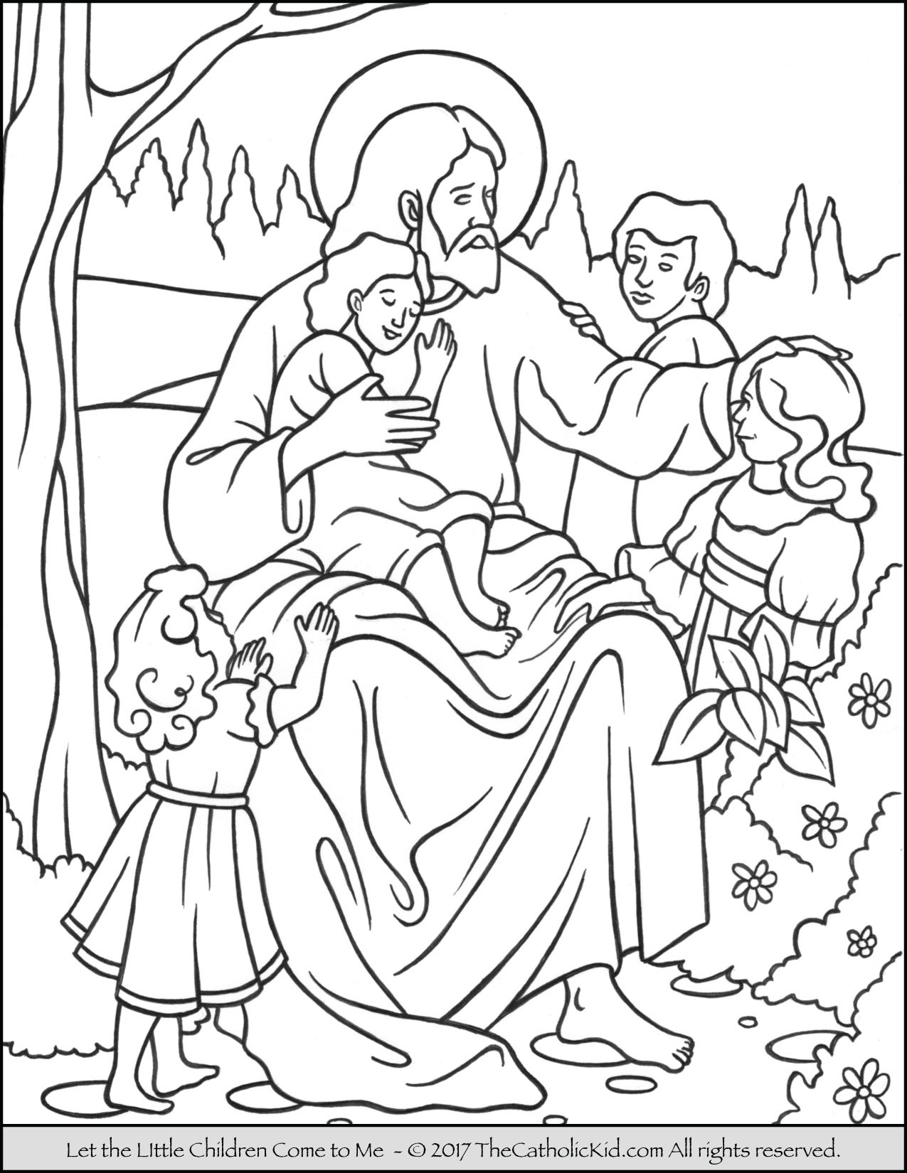 Jesus Let The Little Children Come To Me Coloring Page Jesus And Children Coloring Page