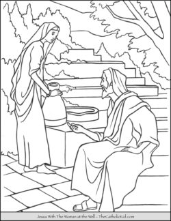 Jesus With the Woman at the Well Coloring Page