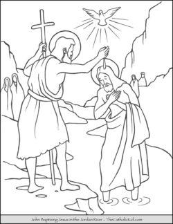 John Baptizing Jesus Jordan Coloring Page