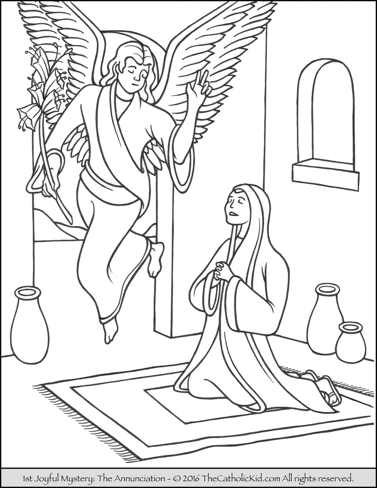 Joyful Mysteries Rosary Coloring Pages - Annunciation