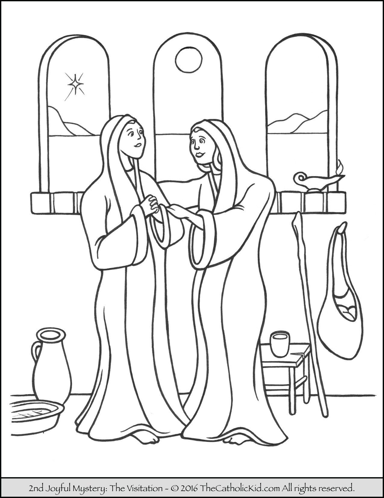 Joyful Mysteries Rosary Coloring Pages - Visitation