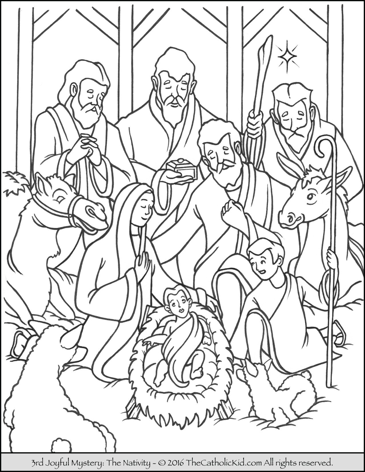 joyful mysteries rosary coloring pages nativity - Nativity Coloring Pages For Kids