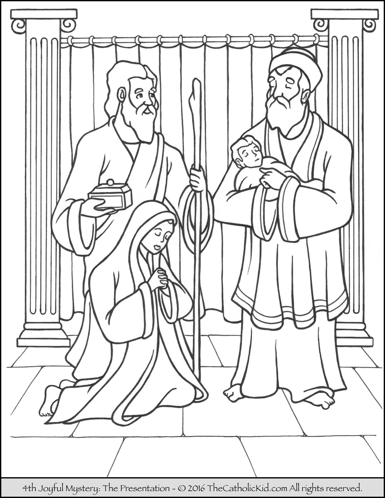 Joyful Mysteries Rosary Coloring Pages - Presentation in the Temple